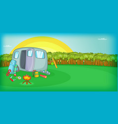 camping horizontal banner sunset cartoon style vector image
