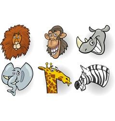 Cartoon wild animals heads set vector