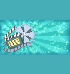 Cinema movie horizontal banner reel cartoon style vector