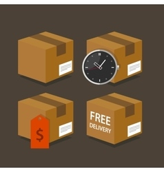 Delivery box fast time price free shipping package vector