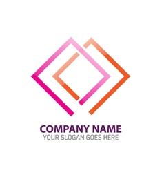 Double frames abstract logo icon template vector