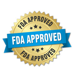 Fda approved round isolated gold badge vector