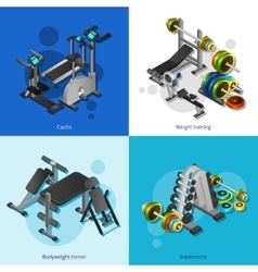 Fitness equipment image set vector