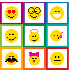 flat icon emoji set of pleasant displeased angel vector image vector image
