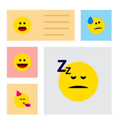 Flat icon emoji set of tears party time emoticon vector