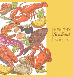 Hand drawn seafood design with octopus salmon vector