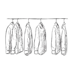 Hand drawn wardrobe sketch Mans shirt vector image