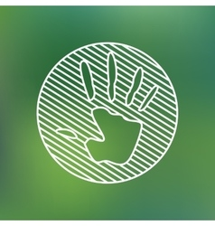 Hand print sign linear icon Stop pollution vector image
