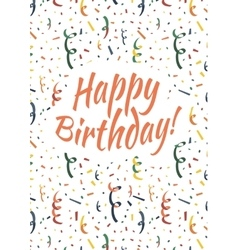 Happy birthday card cover with colorful serpentine vector