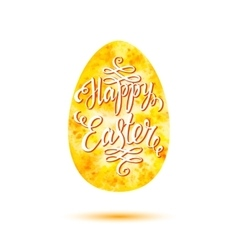 Happy Easter lettering on yellow watercolor egg vector image vector image