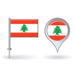 Lebanese pin icon and map pointer flag vector