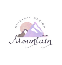 mountain original design logo tourism hiking and vector image