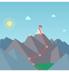 Mountaineering route goal achievement concept vector