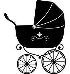 pram silhouette vector image vector image