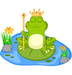 Prince frog cartoon sitting on a leaf vector
