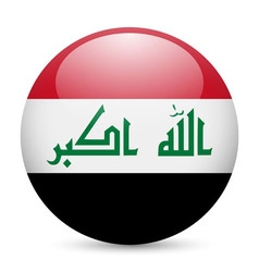 Round glossy icon of iraq vector image vector image