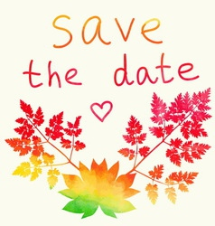Save the date card watercolor rainbow vector