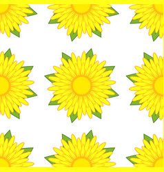 seamless pattern of yellow flowers with green vector image vector image