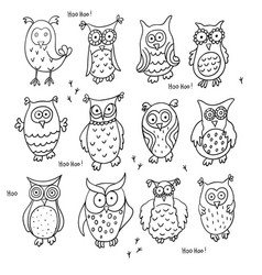 Set of cute cartoon wise owls isolated on white vector