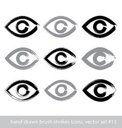 Set of hand-drawn stroke human eye icons vector image