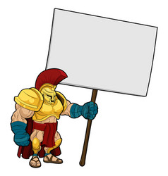 tough spartan or trojan holding sign board vector image vector image