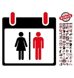 Water closet calendar day flat icon with vector