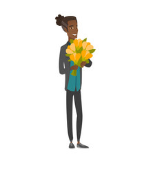 Young african man holding bouquet of flowers vector