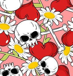 Love and death seamless pattern red heart and vector