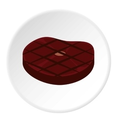 Steak fried on grill icon flat style vector