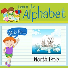 Flashcard letter n is for north pole vector
