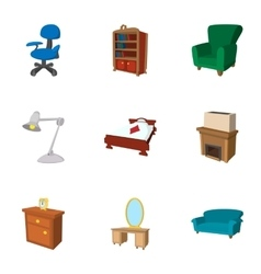 Home environment icons set cartoon style vector