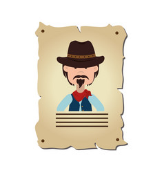 Wanted wild west label vector