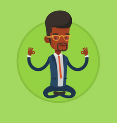 Businessman meditating in lotus position vector