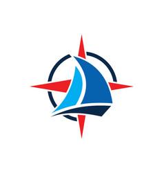 Sailing boat star compass logo vector