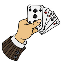 Poker cards in funny hand vector