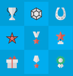 Set of simple reward icons elements first metal vector