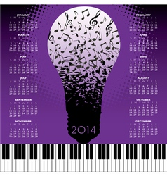 2014 music notes bulb calendar vector