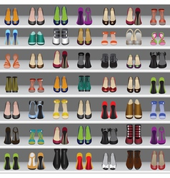 shoes on shelves seamless background vector image
