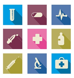 Set of medical icons flat vector