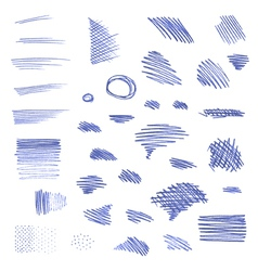Set of pen strokes isolated on white background vector