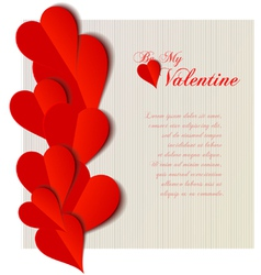 Valentine hearts cutout design card vector image