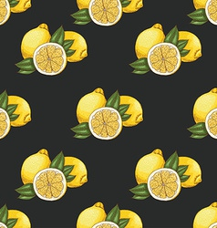 Seamless pattern with lemons on dark background vector