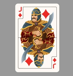 Jack of diamonds playing card vector