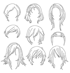 Hair styling for woman drawing set 2 vector