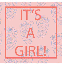 Its-a-girl-card-with-feets-and-frame vector