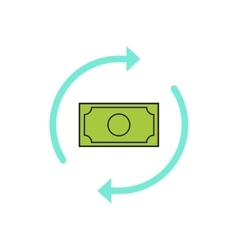 Money arrows icon concept of cash exchange vector