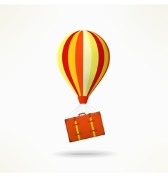 Travel case with balloon mooving and travelling vector