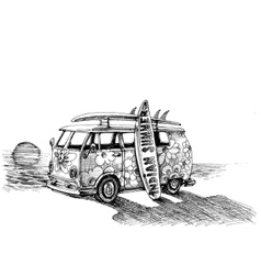 Surf van on the beach Hand drawn vector image