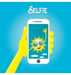 Summer selfie concept background vector