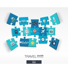 Abstract travel background with connected color vector image